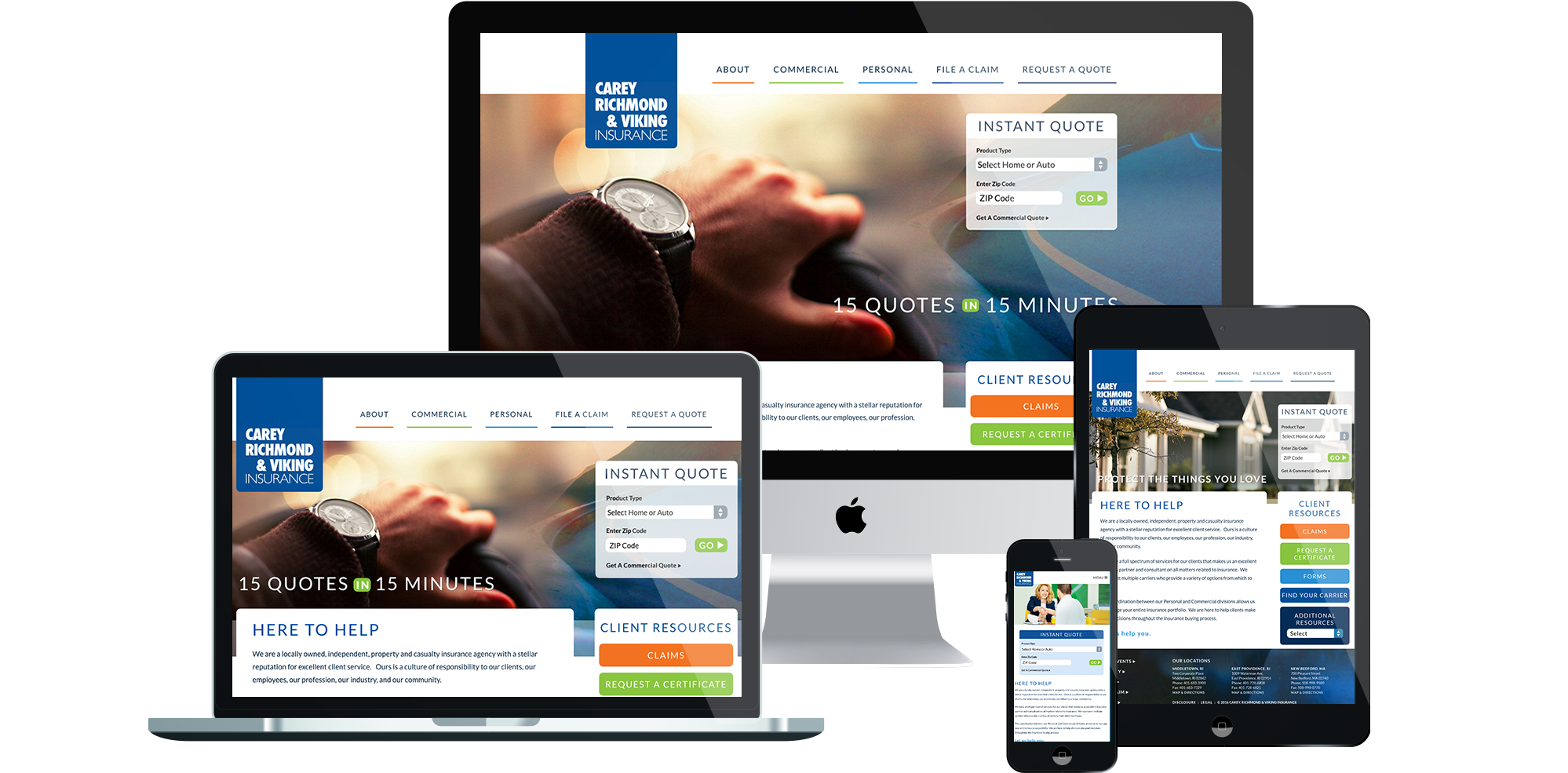 Carey, Richmond & Viking Insurance Responsive Web Design and Development