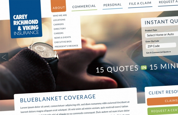 Carey, Richmond & Viking Insurance Responsive Web Design and Drupal Development